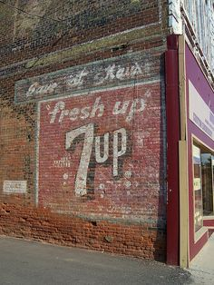 Vintage 7Up Wall Advertisement by The Upstairs Room, via Flickr