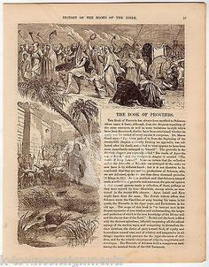 The Book of Proverbs Antique Christian Bible Stories Graphic Art Engraving Print