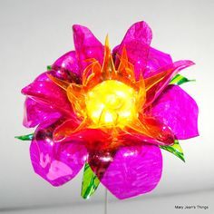 Upcycled Pink and Yellow Fantasy Flower Made of Plastic Water Bottles