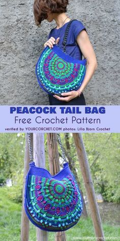 Tail Bag Free Crochet Pattern Peacock Tail Bag Free Crochet Pattern beautiful eye-catching summer and autumn bag with peacock motif.Peacock Tail Bag Free Crochet Pattern beautiful eye-catching summer and autumn bag with peacock motif. Crochet Shell Stitch, Crochet Stitches, Free Crochet, Crochet Handbags, Crochet Purses, Crochet Bags, Crochet Purse Patterns, Amigurumi Patterns, Bag Pattern Free