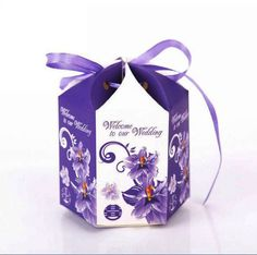 Wedding hexagon candy box come with purple ribbon gift box packaging box;    http://www.aliexpress.com/store/product/Wedding-hexagon-candy-box-come-with-purple-ribbon-gift-box-packaging-box-Hot-sale/801111_678161174.html