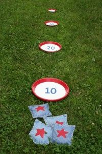 DIY bean bag toss game.