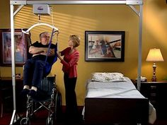 Freestanding Overhead Patient Lift Designed for the Confines of the Average Bedroom.