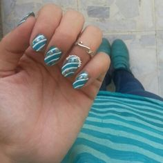 Another look at my Easy Aqua Blue Nail Art inspired by @missjenfabulous using Fake Mac #AC14 matching my OOTD