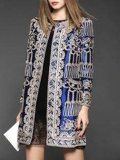 Oversized Embroidery Silk Long Coat