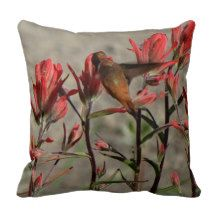 hummingbird cardinal flw. pillow