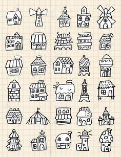 Drawing Doodles Sketches Illustration of hand draw cute house vector art, clipart and stock vectors. Image - - Millions of Creative Stock Photos, Vectors, Videos and Music Files For Your Inspiration and Projects. Doodle Sketch, Doodle Drawings, Easy Drawings, Doodle Art, Drawing Sketches, Drawing Faces, Drawing Tips, Sketching, Simple Doodles