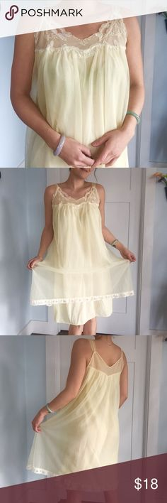 "VTG pale Yellow gorgeous gauzy nighty Little gauzy pale yellow lacy nighty, size S.  So delicate and light! Made by Kayser.  Can be paired with the top shown in the last photo, see alternate photos of it in my other listing!  Flat Measurements: chest: 18.5"" length: 38"" #vday #valentinesday #vintage #vtg #yellow #lace #lingerie #chemise #sexy kayser Intimates & Sleepwear Chemises & Slips"