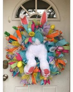 24 Adorable Easter Front Door Wreaths Looking for Easter decorating inspirations for your front door. Try one of these 24 Adorable Easter front door wreaths and door hanger ideas! They will put a smile on your face and warm your heart. Wreath Crafts, Diy Wreath, Tulle Wreath, Wreath Ideas, Flower Crafts, Holiday Wreaths, Holiday Crafts, Easter Wreaths Diy, Winter Wreaths