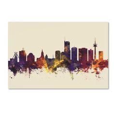 "Trademark Art 'Essen Germany Skyline III' Graphic Art Print on Wrapped Canvas Size: 12"" H x 19"" W"