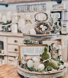 Love this Easter tiered tray by Seasonal Decor, Holiday Decor, Holiday Ideas, Tray Styling, Spring Home Decor, Spring Decorations, Tiered Stand, Hoppy Easter, Tray Decor