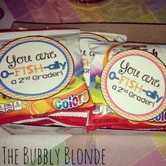 FREE Printable Your'e O-FISH-ALLY a Second Grader (and other grades) from The Bubbly Blonde Teacher and Creative and Easy First Day of School Snacks on Frugal Coupon Living.