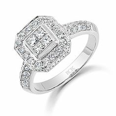 Ladies diamond cluster ring. This impressive diamond ring is set with four central princess cut diamonds with combined carat weight of 0.29ct surrounded by a halo of sixteen brilliant cut diamonds. Surrounding the sides of this head are twenty-four brilliant cut diamonds. Hallmarked 750 18ct white gold knife edge diamond set shank with diamond set head. Combined carat weight of ring is 1.10ct.