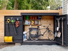 Building A Shed 565905509430857068 - Bluestone Backyard: Build Yourself a Little Storage Shed! Backyard Storage Sheds, Backyard Sheds, Outdoor Sheds, Shed Storage, Backyard Pools, Small Outdoor Shed, Bicycle Storage Shed, Outdoor Bike Storage, Patio Storage