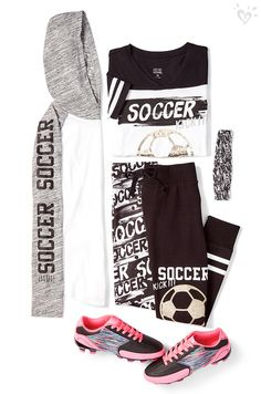 Rep your favorite sport on and off the field. Score major style points with made-to-match leggings, tees and head wraps! Soccer Outfits, Gymnastics Outfits, Sporty Outfits, Athletic Outfits, Dance Outfits, Kids Outfits, Cool Outfits, Tween Fashion, Fashion Outfits