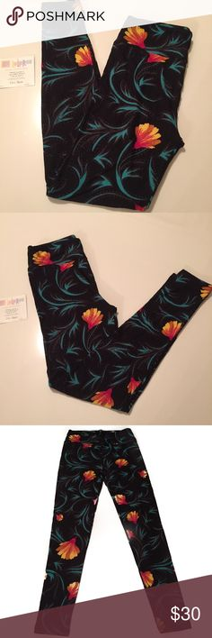 NWT LuLaRoe O/S Black Floral Print Leggings  NWT LuLaRoe O/S Black Leggings with multi color floral print (Turquoise, Rust, Red, Yellow and Gray).  Material: 92% Polyester 8% Spandex Machine Wash Cold.  Made in Vietnam.  See Size Chart in Photos.  NO TRADES OR LOW BALL OFFERS A1 LuLaRoe Pants Leggings