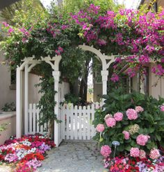 arbor and gate surrounded with bougainvillea, impatiens, and hydrangea