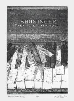 """Abandoned Keys"" by Larry Poole. #intaglioprint #piano"