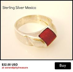 Sterling Silver Goldstone ring size 10 Taxco Mexico