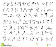 Illustration about Cartoon icons set of sketch stick figures vector people in cute miniature scenes. Illustration of element, doodle, icon - 83126447 Cartoon Drawings Of People, Cartoon Faces, Cartoon Icons, Drawing People, Doodle Drawings, Easy Drawings, Stick Figure Drawing, Stick Figure Tattoo, Drawing Exercises