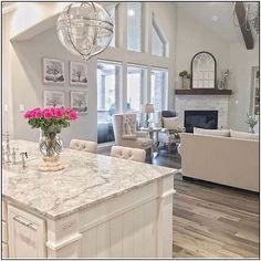 65 best white kitchen design ideas for white cabinets 65 White Kitchen Cabinets Cabinets Design Ideas Kitchen White Home Living, Living Room Kitchen, Home Decor Kitchen, Home Kitchens, Living Room Decor, Dream Kitchens, Living Place, Kitchen Ideas, Small Living