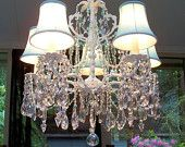Vintage Beach Cottage Crystal Chandelier with Aqua Silk Shades