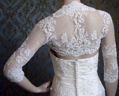 3/4 Sleeve or Long Sleeve Italian Lace Bridal by IheartBride, $269.00