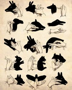 """""""Shadow Puppets"""" Antique Silhouette Print"""