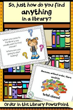 Very child-friendly PowerPoint explaining how libraries are arranged. An important first step for little patrons. School Library Lessons, Library Lesson Plans, Elementary School Library, Library Skills, Library Books, Library Ideas, Elementary Schools, Class Library, Elementary Teacher