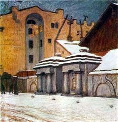 A nook of Petersburg Artist: Mstislav Dobuzhinsky Completion Date: 1904 Place of Creation: Russian Federation Style: Symbolism Genre: citysc...