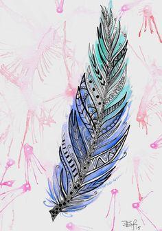 Original 6.5x9in Zentangle Feather Watercolor por BrietronArt