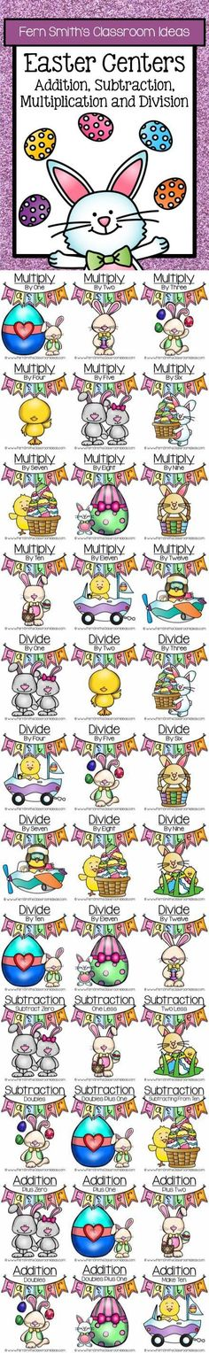 Quick and Easy to Prep Bundle of Multiplication, Division, Addition and Subtraction Easter Centers - Thirty-seven Different Strategies #TPT $Paid