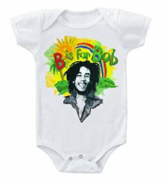 Amazon.com: Kiditude Bob Marley B is for Bob Onesie, White (Medium 6-12 Months): Clothing