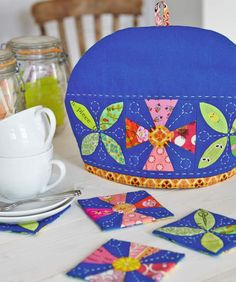 Tea cosy, coasters and tea caddy by Kerry Green of Very Berry Kerry for Love Patchwork & Quilting magazine issue 13