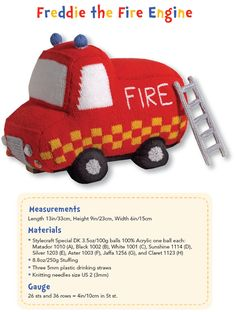 Knitted Toys: 20 Cute and Colourful Projects - Freddie the Fire Engine 1 of 5 (pg 4 of 13)