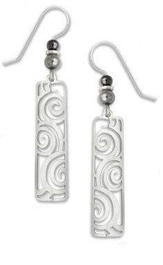 Amazon.com: Adajio by Sienna Sky Long Polished Silver Column with Spiral Filigree Earrings 7284: Jewelry