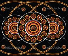 Illustration based on aboriginal style of dot painting. Aboriginal Tattoo, Aboriginal Dot Painting, Dot Art Painting, Mandala Painting, Painting Patterns, Stone Painting, Rock Painting, Mandala Dots, Mandala Pattern