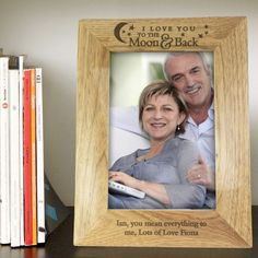 Personalise this 5x7 Oak Finish Frame with a message over 2 lines of 30 characters per line The text I Love You TO THE Moon Back is fixed This frame