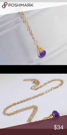 Purple Amethyst 14K gold filled gemstone necklace The onion briolette Amethyst faceted gemstone measures approximately 3/8 inch by 1/4 inch, and is wire wrapped in 14K gold filled wire. Made with 14K gold filled chain, and finished off with a spring ring clasp and a soldered closed jump ring.   *18 inches in length - also available in sterling silver or 14K rose gold filled - additional fees may apply - comment to upgrade for a separate listing.  ------- This item is NEW directly from a…