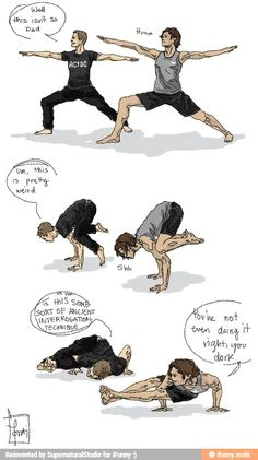 Sam and dean doing yoga