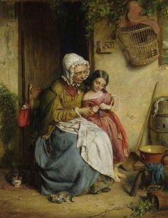 John Thomas Peele - The Knitting Lesson, 1858, oil on canvas