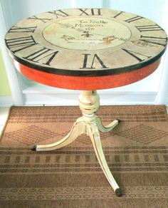 Painted Table  Clock Face  Custom  Antique  by WhimsyBurd