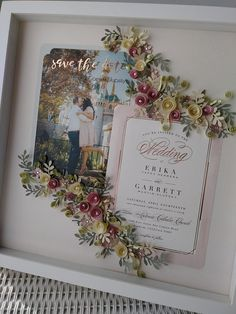 This is a lovely example of a custom rose gold and blush theme wedding invitation in a white frame. Wedding Boxes, Wedding Frames, Wedding Cards, Wedding Gifts, Wedding Ideas, Framed Wedding Invitations, Wedding Invitation Keepsake, Blush Wedding Theme, Wedding Flowers