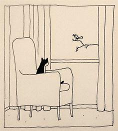 cat watching bird, by Franco Matticchio - Animalarium: cats