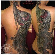 Peacock Tattoo , Back piece Tattoo