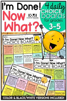 """FREE Choice Boards for Students! Great ideas for early finishers and fast workers."""" Give your early Early Finishers Activities, Reading Activities, Classroom Activities, 3rd Grade Activities, 4th Grade Classroom, 4th Grade Math, 3rd Grade Centers, Physics Classroom, Grade 3"""