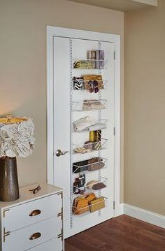 Stylish space-saving solutions from ClosetMaid like this Adjustable Wall & Door Basket Organizer is the perfect add-on to supplement storage. Perfect for organizing items in all areas of the home. Quickly access commonly used items. Uni Room, Dorm Room, Kids Room, Hanging Organizer, Door Organizer, Bedroom Doors, Diy Bedroom, Design Bedroom, Bed Design