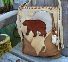 BEAR MEDICINE Elkskin Leather PURSE medicine bag / spirit pouch with Deer Antler