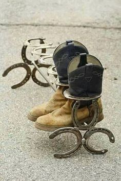Horseshoe boot rack!