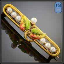 Art Nouveau 14k Gold Enamel & Pearl Bar Pin